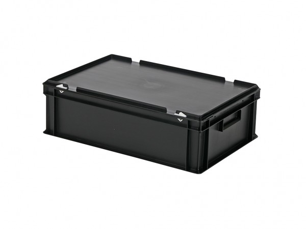 Stapelbak met deksel - 600x400xH185mm - zwart