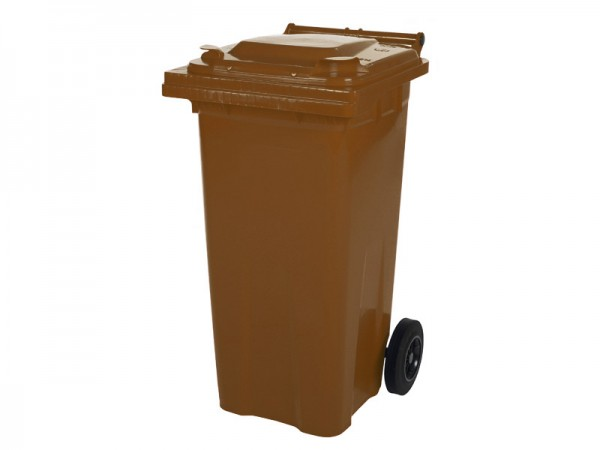 2-wiel afvalcontainer - 120 liter - bruin