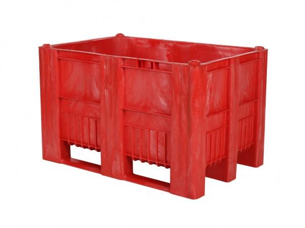 Kunststof palletbox - 1200x800xH740mm - 3 sledes - rood