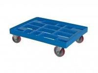 Verrijdbaar kunststof onderstel 800x600mm - blauw - gegalv. gaffels 52.TR8060.2.L