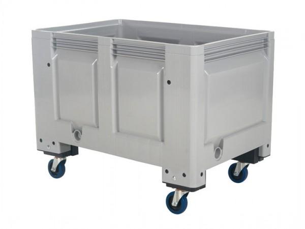 Kunststof palletbox - 1200x800xH915mm - op wielen - grijs