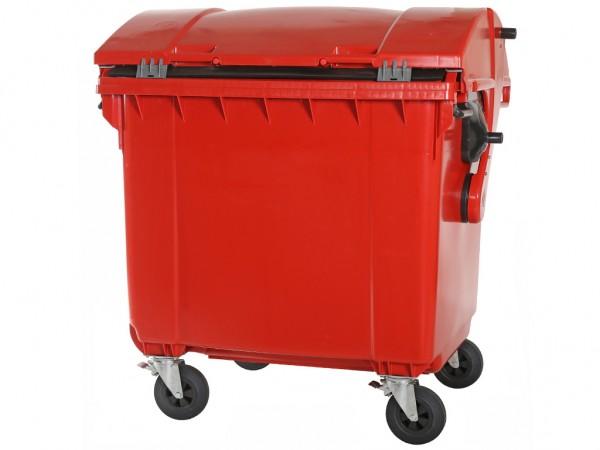 4-wiel afvalcontainer - 1100 liter - rond deksel - rood