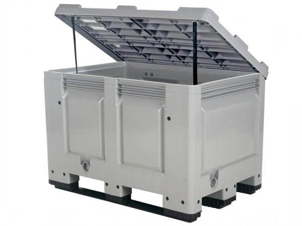 Strooizoutbak kunststof palletbox - 1200 x 800 mm - met deksel - op sledes