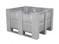 Kunststof palletbox - 1200x1000xH740mm - 3 sledes - grijs 83281810