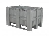 Kunststof palletbox - 1200x800xH740mm - 3 sledes - grijs 83381810