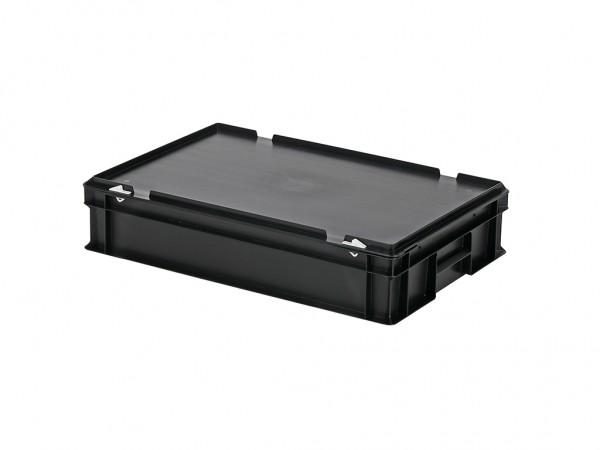 Stapelbak met deksel - 600x400xH135mm - zwart