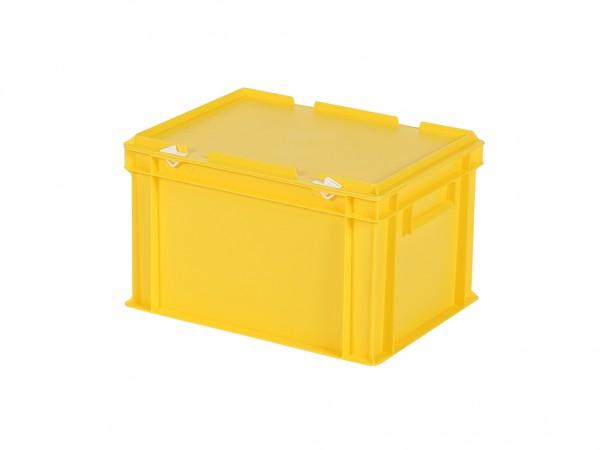Stapelbak met deksel - 400x300xH250mm - geel