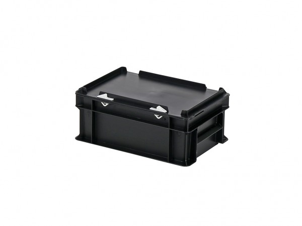 Stapelbak met deksel - 300x200xH133mm - zwart