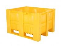 Kunststof palletbox - 1200x1000xH740mm - 3 sledes - geel 83281410