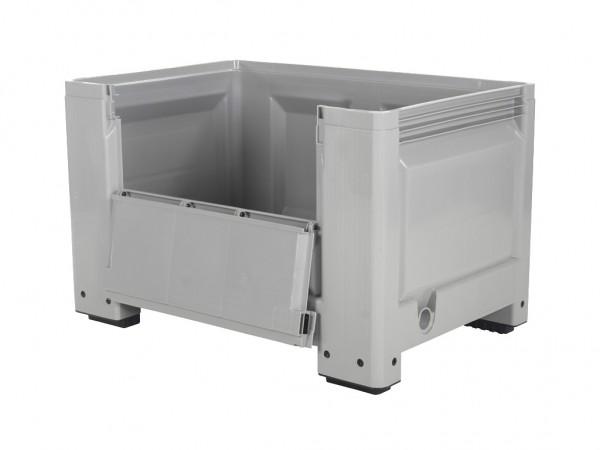 Kunststof palletbox - 1200x800xH760mm - met klep - op 4 poten - grijs