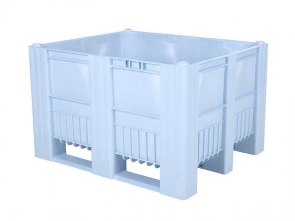 Kunststof palletbox - 1200x1000xH740mm - 3 sledes - lichtblauw