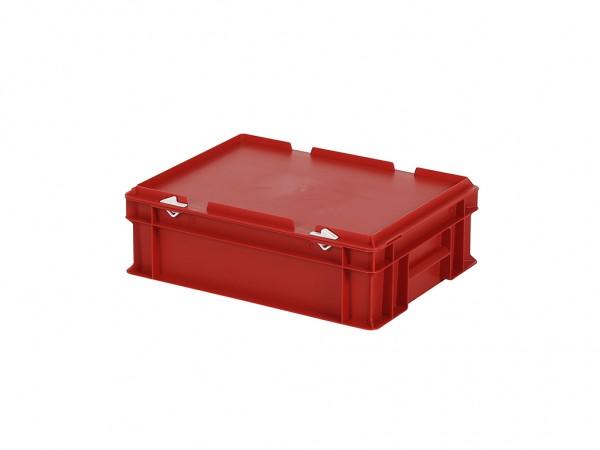 Stapelbak met deksel - 400x300xH133mm - rood