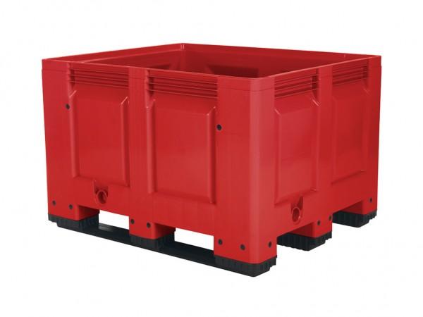 Kunststof palletbox - 1200x1000xH790mm - 3 sledes - rood