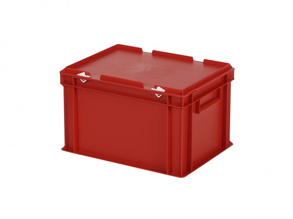 Stapelbak met deksel - 400x300xH250mm - rood