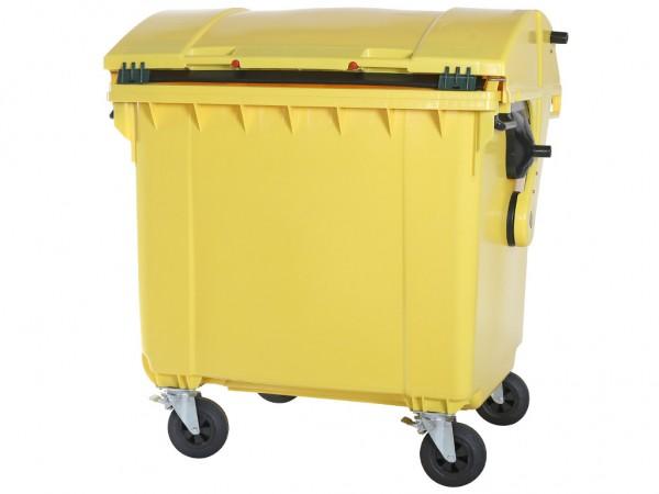 4-wiel afvalcontainer - 1100 liter - rond deksel - geel