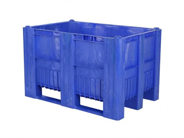 Kunststof palletbox - 1200x800xH740mm - 3 sledes - blauw