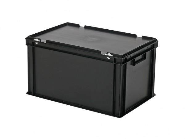 Stapelbak met deksel - 600x400xH335mm - zwart