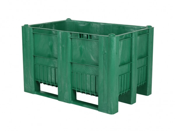 Kunststof palletbox - 1200x800xH740mm - 3 sledes - groen