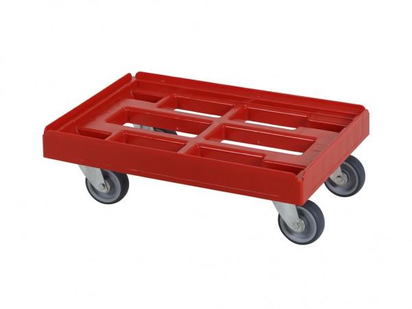 Verrijdbaar kunststof onderstel 600x400mm - rood - gegalv. gaffels