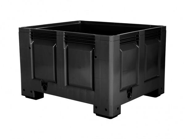 Kunststof palletbox - 1200x1000xH760mm - op 4 poten - zwart